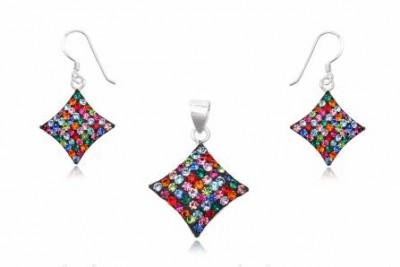 Set romburi din cristale multicolore si argint
