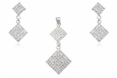 Set romburi din argint si cristale albe