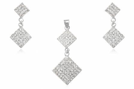 set romburi din argint cu cristale