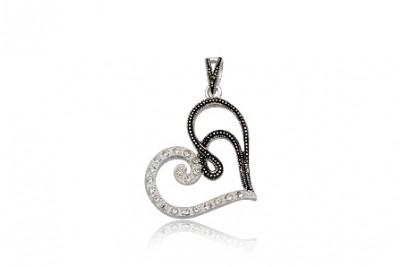 Pandantiv inima din argint cu zirconia si marcasite