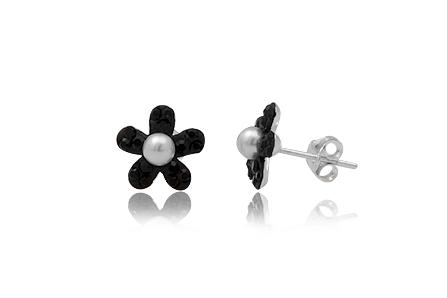 Cercei Flori Din Argint Cu Cristale Negre