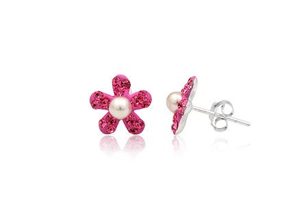 cercei flori cristale roz