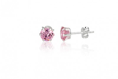 Cercei din argint cu zirconia roz diafan