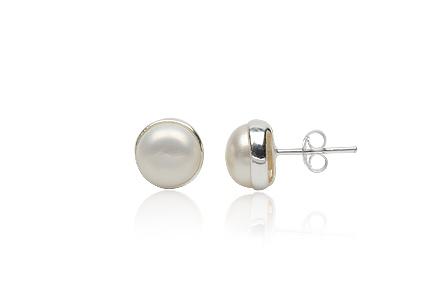 Cercei Eleganti Cu Perle Albe Si Argint