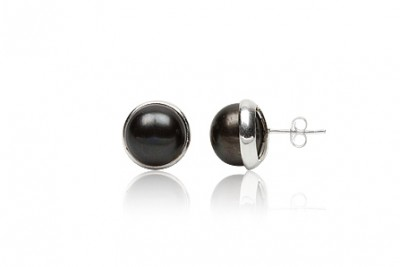 Cercei din argint cu perle negre