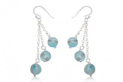 Cercei din argint si margele din sticla millefiori bleu