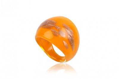 Inel sticla de Murano orange cu auriu