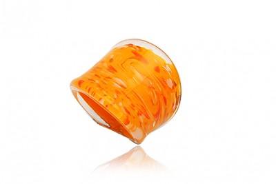 Inel din sticla de Murano orange cu picatele