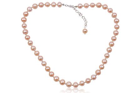 colier din perle roz si argint