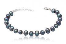 Bratara din argint si perle naturale gri