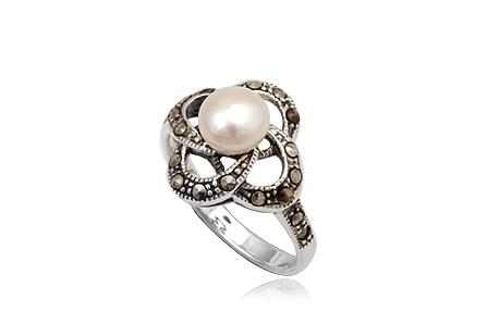 Inel Din Argint Cu Perla Alba Si Marcasite