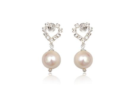 Cercei Din Argint Cu Perle Si Cristale Albe