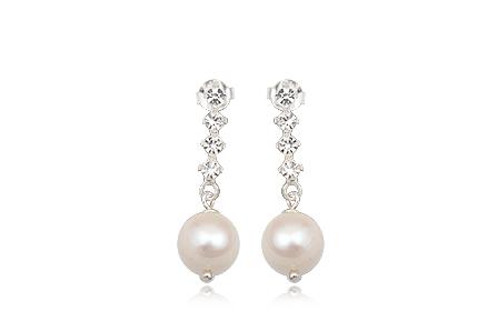 Cercei Din Argint Cu Cristale Transparente Si Perle