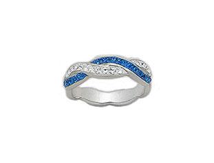 inel din argint cu cristale bleu