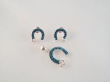 Set potcoave din argint cu cristale bleu