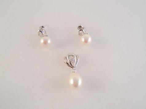 set din argint cu perle