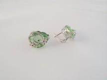 Cercei din argint si zirconia verde