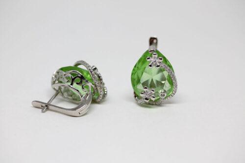 cercei argint si pietre verzi