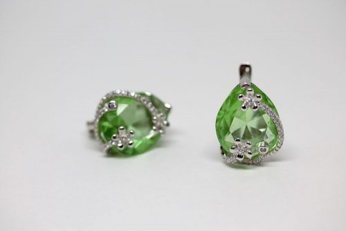cercei eleganti argint verzi