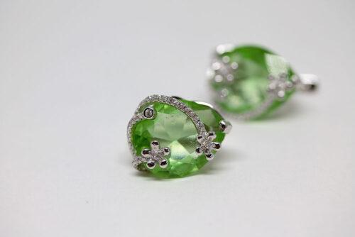 cercei argint cu zirconiu verde