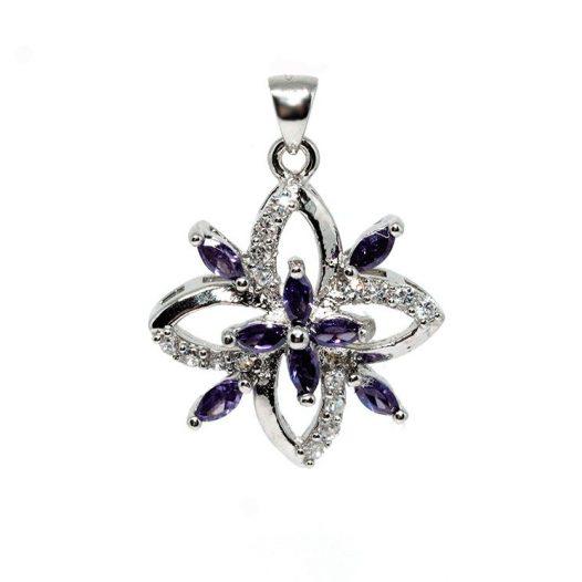 pandantiv argint 925 si floare mov