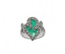 Inel din argint cu agat verde