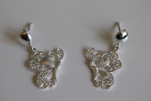 cercei fluturi din argint