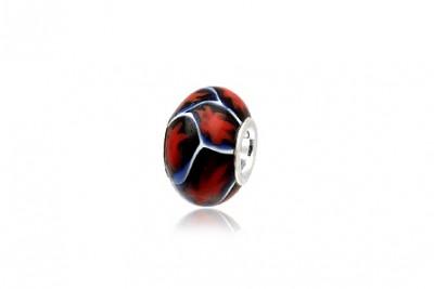 Pandantiv in rosu si negru din sticla de Murano si argint