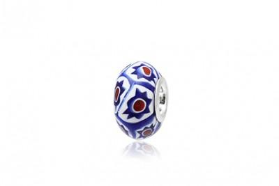 Pandantiv din sticla de Murano in alb si albastru