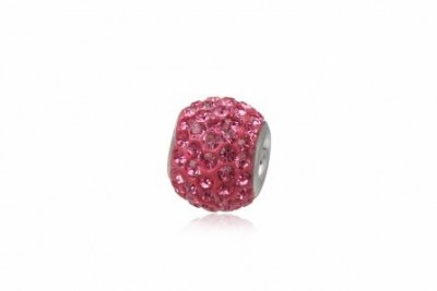 Pandantiv din argint si cristale roz