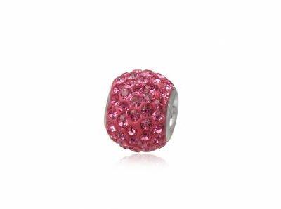 pandantiv argint cristale roz