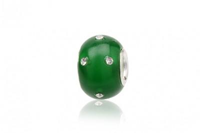 Pandantiv din sticla verde si argint