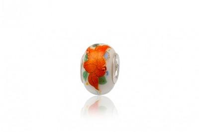 Pandantiv din ceramica pictata cu flori portocalii