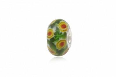 Pandantiv din argint si sticla model millefiori verde