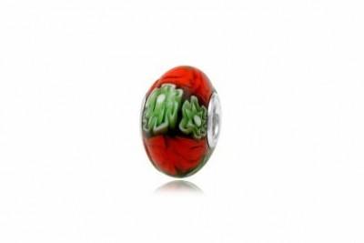 Pandantiv din sticla millefiori in rosu si verde