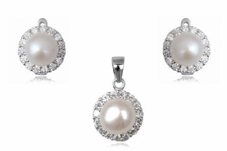 set cu perle albe