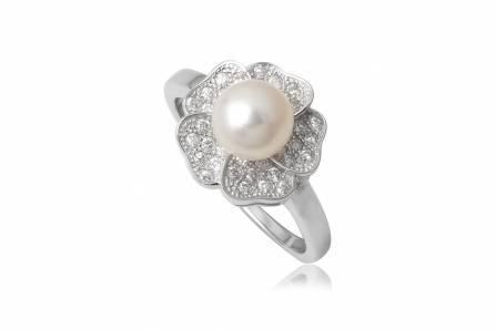 inel din argint cu perla alba
