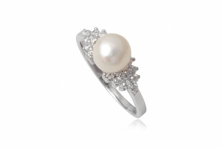 Inel Din Argint Cu Perla Si Zirconii Albe