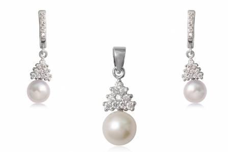 set din argint cu perle albe