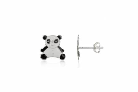 Cercei Copii Ursuleti Panda Din Argint Si Email