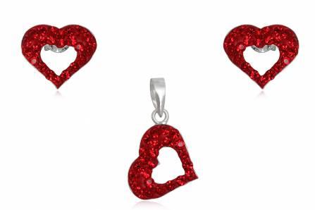 Set Inimioare Din Argint Cu Cristale Rosii