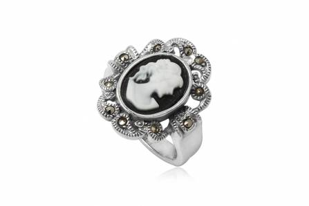 inel din argint camee