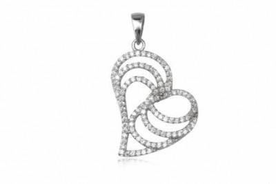 Pandantiv inima din argint si zirconia alb