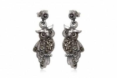 Cercei bufnite dragute din argint cu marcasite