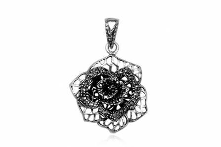trandafir di argint cu marcasite