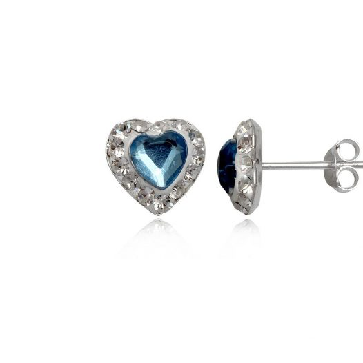 cercei inimioare bleu din argint