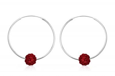 Cercei mari si rotunzi din argint cu cristale rosii