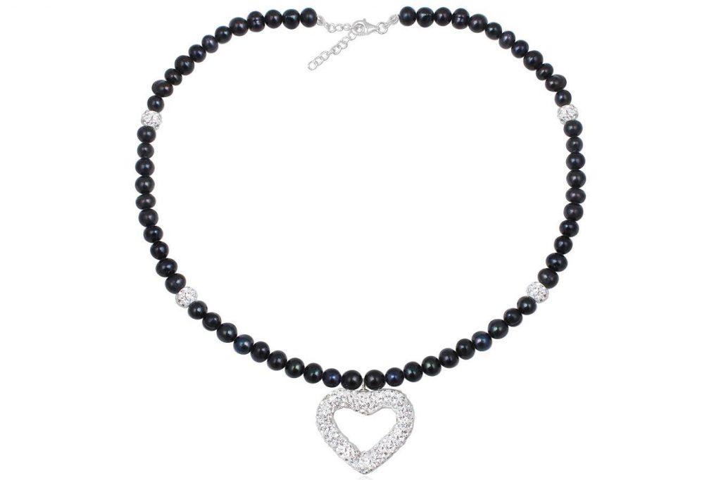 Colier Din Perle Negre Cu Pandantiv Din Cristale
