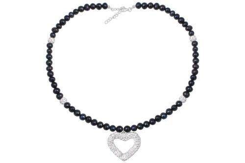 colier din perle negre si cristale