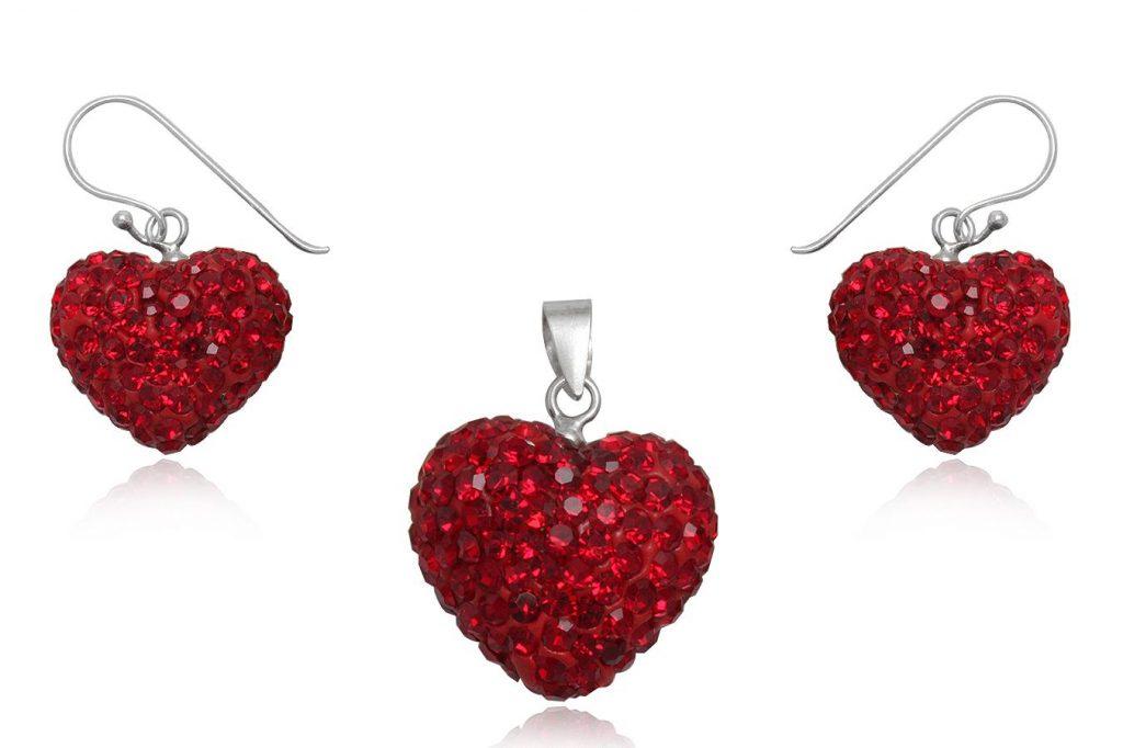 Set Inimi Din Cristale Rosii Si Argint